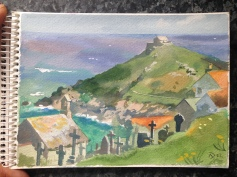 View over the Island and St `Nicholas Chapel, St Ives