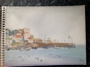 Staring to rain. St Ives Harbour