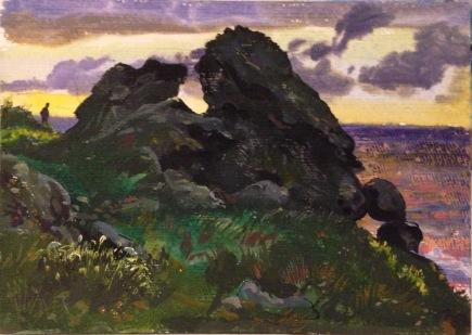 Sunset over Cloggy's rocks